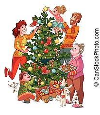 fa., őt díszít, karácsony, betű, család, karikatúra, furcsa