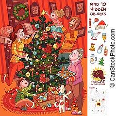 fa., őt díszít, kifogásol, karácsony, család, rejtett, talál, 10