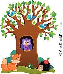 fa 3, különféle, állatok, téma