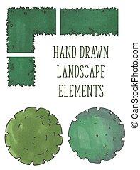 fa, bitófák, kéz, vektor, húzott, bokrok, tető