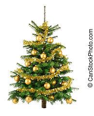fa, buja, apróságok, arany, karácsony