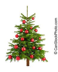 fa, buja, apróságok, piros, karácsony