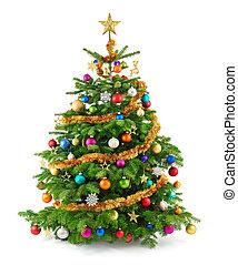 fa, buja, dísztárgyak, színes, karácsony