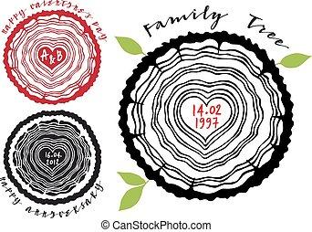 fa, család, szív, gyűrű