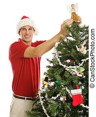 fa, díszít, fiatalember, karácsony