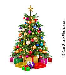 fa, dobozok, fényes, karácsonyi ajándék