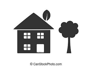 fa, eco, icon., épület, barátságos
