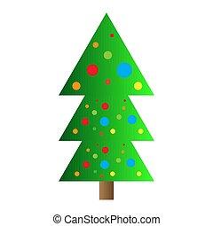 fa, elszigetelt, ikon, karácsony