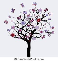 fa, elvont, menstruáció, pillangók, virágos