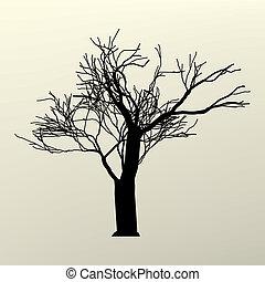 fa, eps, ábra, silhouette., elágazik, 8