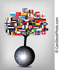 fa, földgolyó, zászlók, földdel feltölt