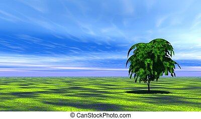 fa, fű, zöld