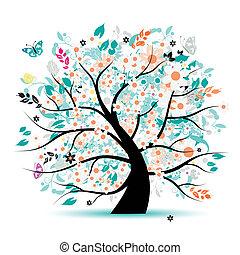 fa, gyönyörű, virágos