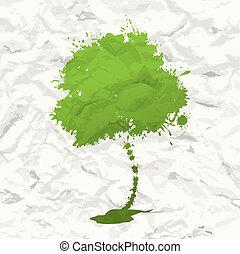 fa., gyűrött újság, zöld