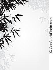 fa, háttér, árnykép, bambusz
