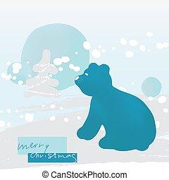 fa, hó, hord, kártya, modern, snowfall., köszönés, csinos, vektor, táj, minimalista, felhalmoz, poláris, illustration., mód, tél, karácsony