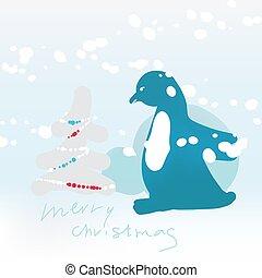 fa, hó, kártya, pingvin, modern, snowfall., köszönés, csinos, vektor, táj, minimalista, felhalmoz, illustration., mód, tél, karácsony