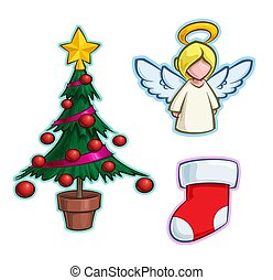 fa, ikon, harisnya, -, karikatúra, angyal, állhatatos, karácsony