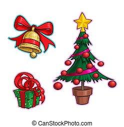 fa, -, ikon, karikatúra, állhatatos, tehetség, karácsony, csengő