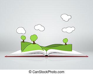 fa, könyv, nyílik, dombok, táj