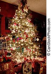fa, karácsony, éjszaka