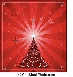 fa, karácsony, háttér, piros
