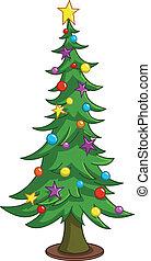 fa, karikatúra, karácsony