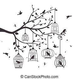 fa, madarak, színes