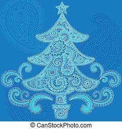fa, paisley, karácsony, vektor, hennabokor
