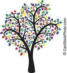 fa, színes