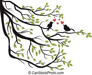 fa, szeret, elágazik, madarak