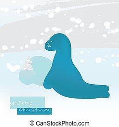 fa, tél, hó, kártya, modern, snowfall., köszönés, csinos, vektor, táj, tenger, minimalista, felhalmoz, illustration., mód, borjú, karácsony