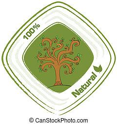 fa, természetes, címke