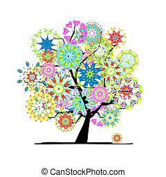 fa, tervezés, -e, virágzó