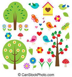 fa., vektor, állhatatos, madarak