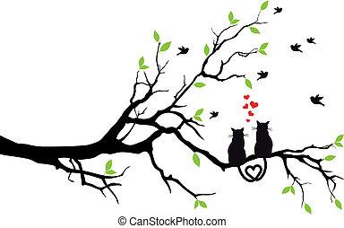 fa, vektor, szeret, korbácsok