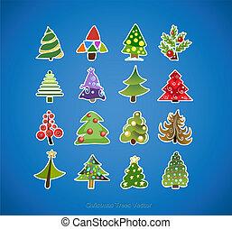 fa, vektor, tervezés, karácsony, ikonok