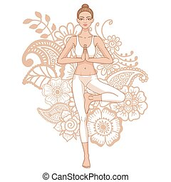 fa, vrikshasana., nők, jóga, pose., silhouette.
