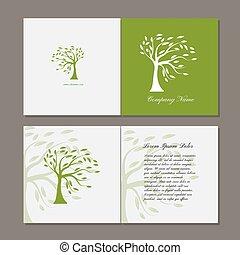 fa, zöld, köszönés kártya