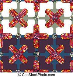fabric., díszítés, elvont, modern, felszín, fényes, tervezés, mód, pattern., seamless, struktúra, háttér., húzott, textil, göngyöleg, geometrikus, kéz, tapéta, keresztbe tesz, mértan, befest, dolgozat, vektor