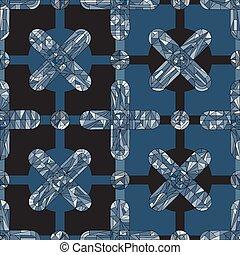 fabric., díszítés, elvont, modern, felszín, tervezés, mód, pattern., seamless, struktúra, háttér., húzott, textil, göngyöleg, geometrikus, kéz, tapéta, keresztbe tesz, mértan, kőcsipke, dolgozat, vektor