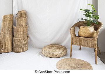 fabric., dekoráció, vesszőfonás, struktúra, fa., háttér, kosár, szék, fehér, sző