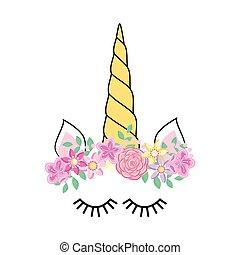 face., nyomtat, csinos, ing, flowers., design., színes, furcsa, egyszarvú, rózsa, betű, kártya