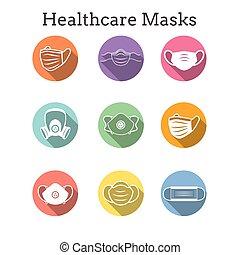 facemask, oltalom, maszk, állhatatos, légzési, arc, ppe, nyugat, ikon, közegészségügy