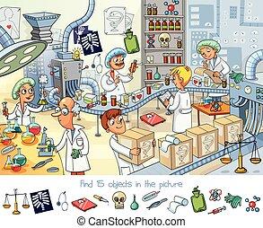 factory., kifogásol, talál, film, 15, gyógyszerészeti