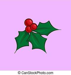 fagyöngy, -, karácsony, magyal, karikatúra, ikon