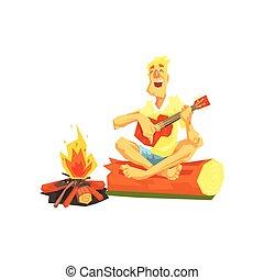 fahasáb, ülés, következő, gitár, pasas, játék, máglya