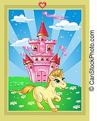 fairytale, bástya, táj, egyszarvú, varázslatos, rózsaszínű