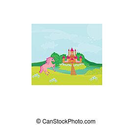 fairytale, varázslatos, táj, egyszarvú, rózsaszínű, bástya