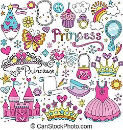 fairytale, vektor, tiara, állhatatos, hercegnő